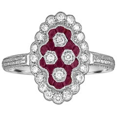 0.80 Carat Ruby Diamond Gold Ring