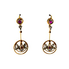 0.80 Carat Ruby White Rose Cut Diamond Yellow Gold Lever-Back Drop Earrings