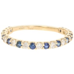 0.80 Carat Sapphire Diamond 14 Karat Yellow Gold Band
