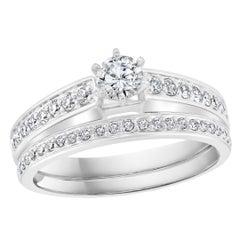 0.80 Carat TDW Solitaire Round Center Diamond 14 Karat White Gold Ring and Band