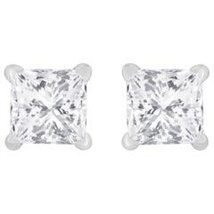 0.80 Carat Total Diamond Solitaire Princess Cut Stud Earrings 14 Karat Gold