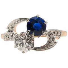 0.80 Carat Victorian Diamond Sapphire Crossover Wedding Yellow Gold Ring