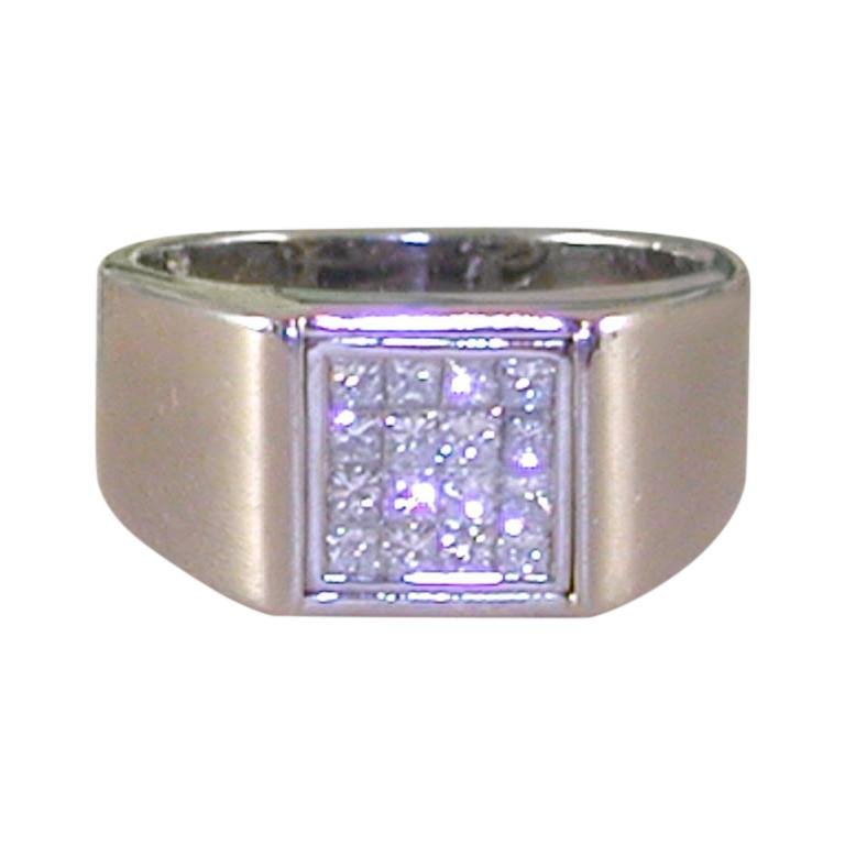 0.80 Carat White Gold Princess Cut Diamond Men's Pinky Ring