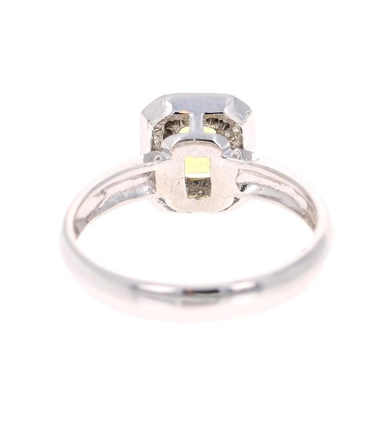 Emerald Cut 0.80 Carat Yellow Sapphire and Diamond 14 Karat White Gold Ring For Sale