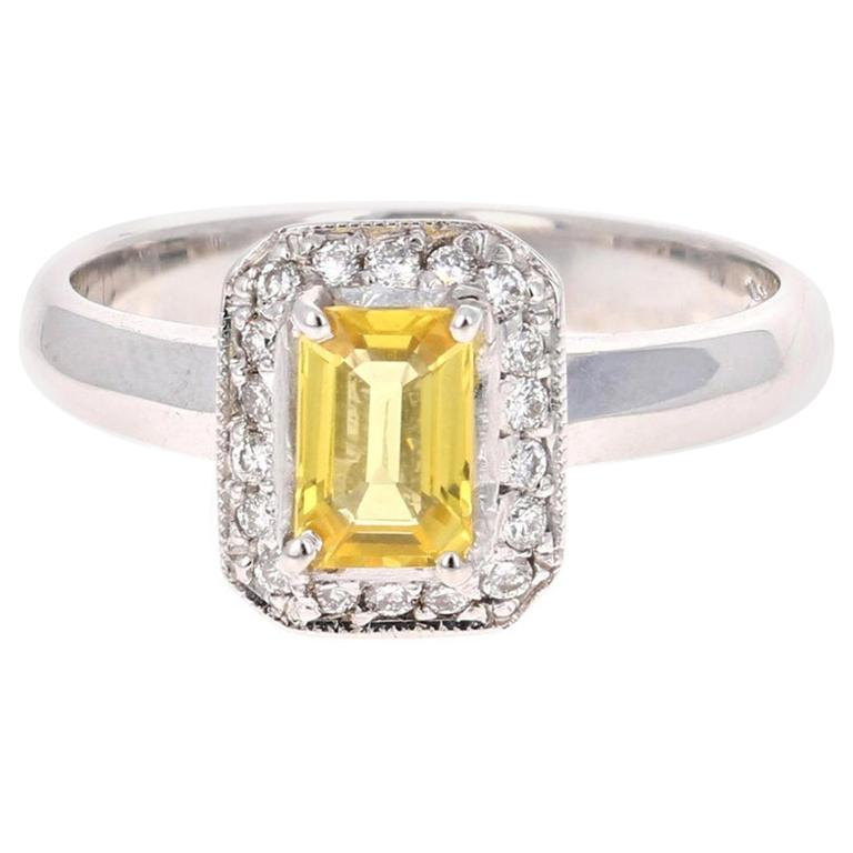 0.80 Carat Yellow Sapphire Diamond 14 Karat Yellow Gold Ring For Sale