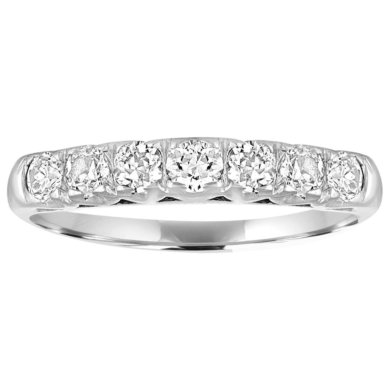 0.80 Carat Diamond Platinum Seven-Stone Half Band Ring