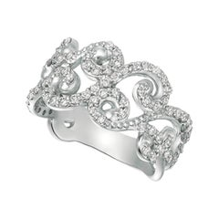 0.80 Ct Natural Round Cut Diamond Ring G SI 14k White Gold