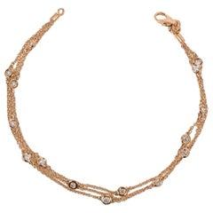 Triple-Row Diamond Station Bracelet Rose Gold 14 Karat