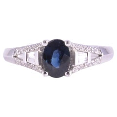 0.80 Oval Sapphire and Diamond Ring