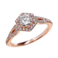 0.80ct Round Cut Moissanite Engagement Ring in 14K Rose Gold