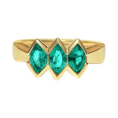 0.81 Carat 3-Stone Marquise Cut Colombian Emerald and 14k Yellow Gold Ring