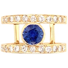 0.81 Carat Blue Sapphire and Diamond Gold Ring