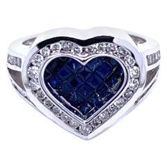0.81 Carat Diamond/0.92 Carat Blue Sapphire 18 Karat Gold Heart Split Shank Ring