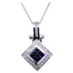 0.81 Carat Diamond/0.97 Carat Blue Sapphire 18 Karat Gold Pendant