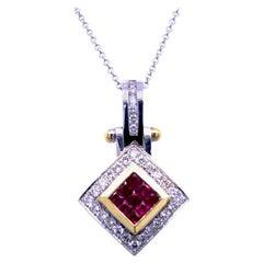 0.81 Carat Diamond/0.97 Carat Rubies 18 Karat Gold Pendant
