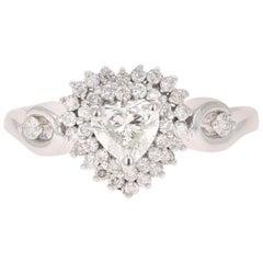 0.81 Carat Diamond 14 Karat White Gold Engagement Ring