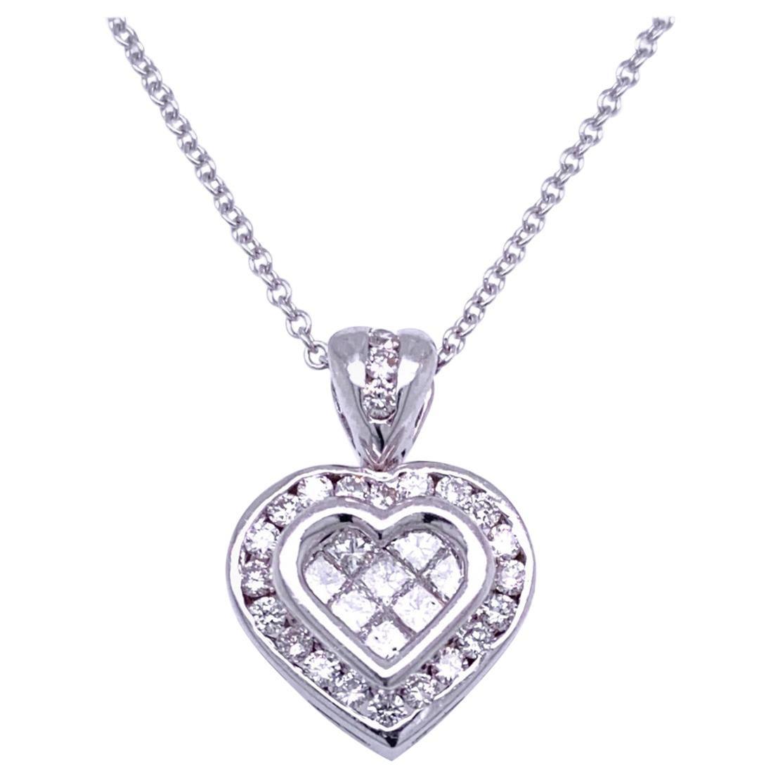 0.81 Carat Diamond 18 Karat Gold Hearts Pendant Necklace