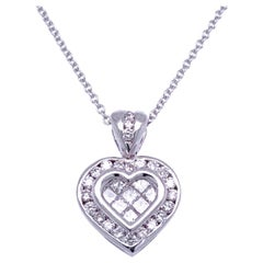 0.81 Carat Diamond 18 Karat Gold Hearts Pendant Necklace