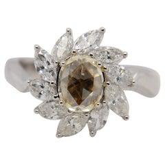 0.81 Carat Fancy Yellow Diamond Ring in 18 Karat Gold