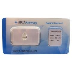 0.81 Carat HRD Certificate White Pear Shape Diamond