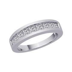0.81 Carat Natural Diamond Princes Cut Ring Band G SI 14 Karat White Gold