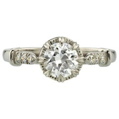 0.81 Carat Old European Cut Diamond Set in a Handcrafted Platinum Ring