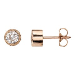 0.81 Carat Old European Cut Diamonds Set in 18 Karat Rose Gold Earrings