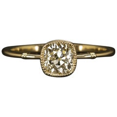 0.81 Carat Old Mine Cut VS2 Cushion Diamond Engagement Ring Antique