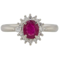 0.81 Carat Oval Ruby Diamond Halo Cocktail Ring Platinum in Stock