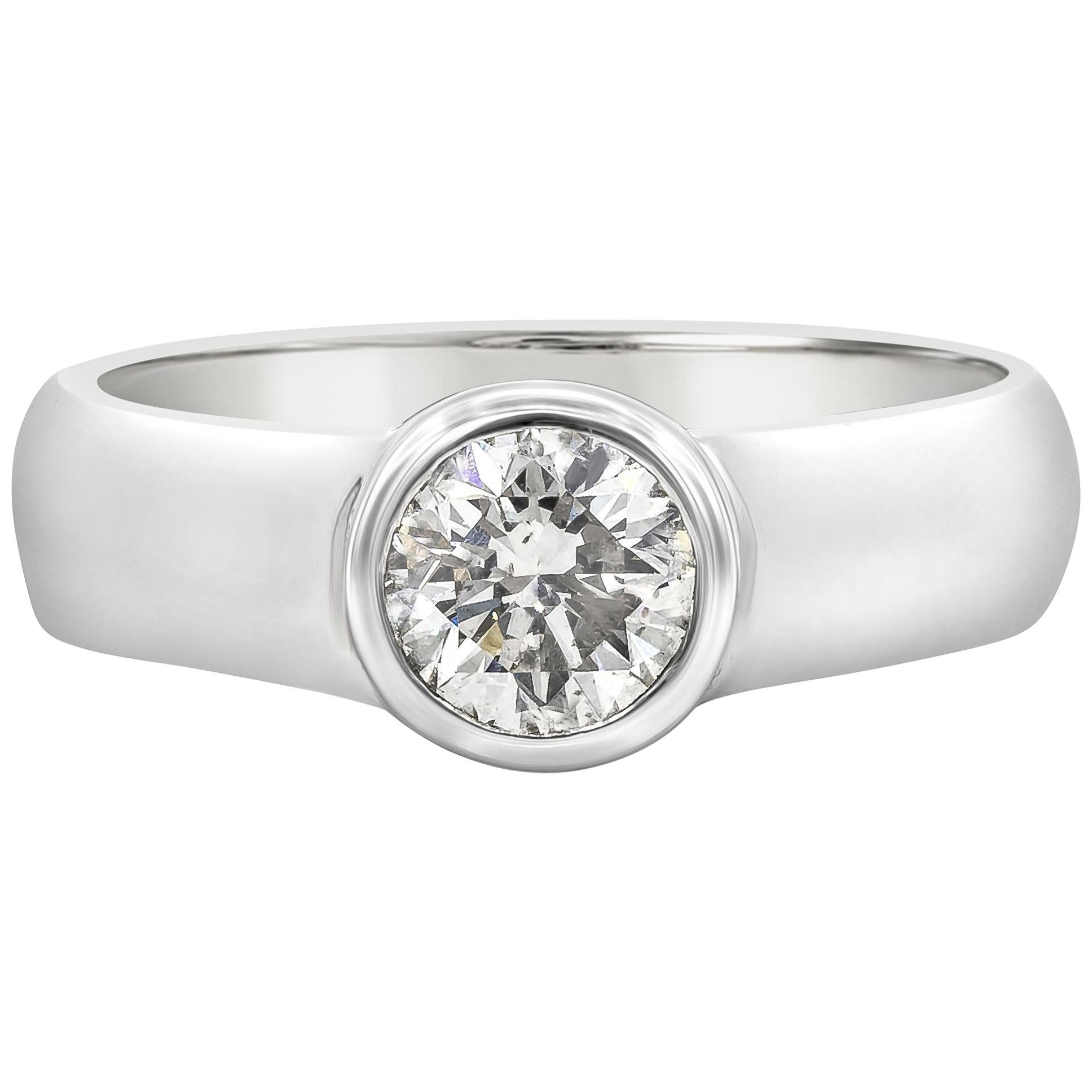 0.81 Carat Round Diamond Bezel Solitaire Engagement Ring