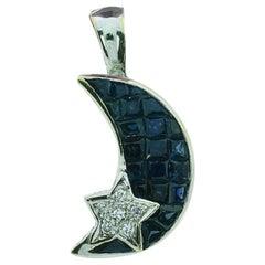 0.81 Carat White Diamond and Blue Sapphire Moon Pendant