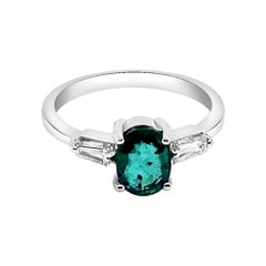 0.81ct Natural Emerald 14K White Gold Ring