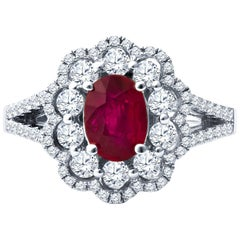 0.81ct Oval Cut Ruby with 0.72ctw Round Diamond Double Halo Ring, 18k White Gold