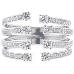 0.82 Carat GVS Round Diamond Ring 18 Karat White Gold Cocktail Ring