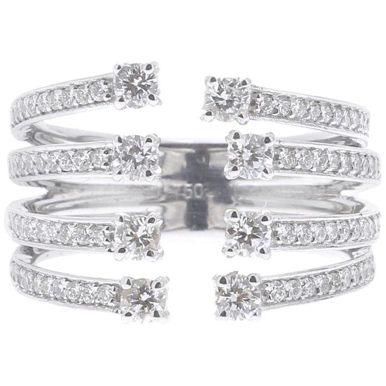 0.82 Carat GVS Round Diamond Ring 18 Karat White Gold Cocktail Ring For Sale
