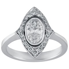 0.82 Carat Old Cut Oval Solitaire Diamond Ring in 18 Karat White Gold