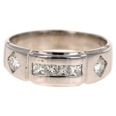 0.82 Carat Princess Round Cut Men's Wedding Band 14 Karat White Gold