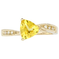 0.82 Carat Trillion Cut Yellow Beryl and White Diamond Ring