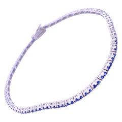 0.83 Carat 4 Prong Round Sapphire Gold Tennis Bracelet