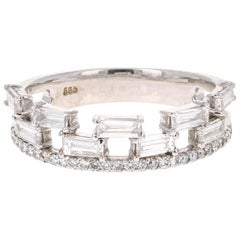 0.83 Carat Baguette and Round Cut Diamond Band 14 Karat White Gold