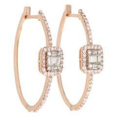 0.83 Carat Diamond Hoop Earrings 18 Karat Rose Gold