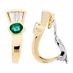 0.83 Carat Oval and Baguette Cut Emerald and Diamond Earrings 18Kt Two-Tone Gold