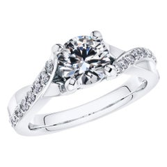 0.83 Carat Round Diamond Twisted 18 Karat White Gold 4 Prong Engagement Ring