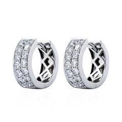 0.83 Carat Total Diamond Huggie Earrings