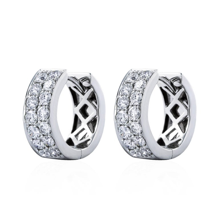 0 83 Carat Total Diamond Huggie Earrings For