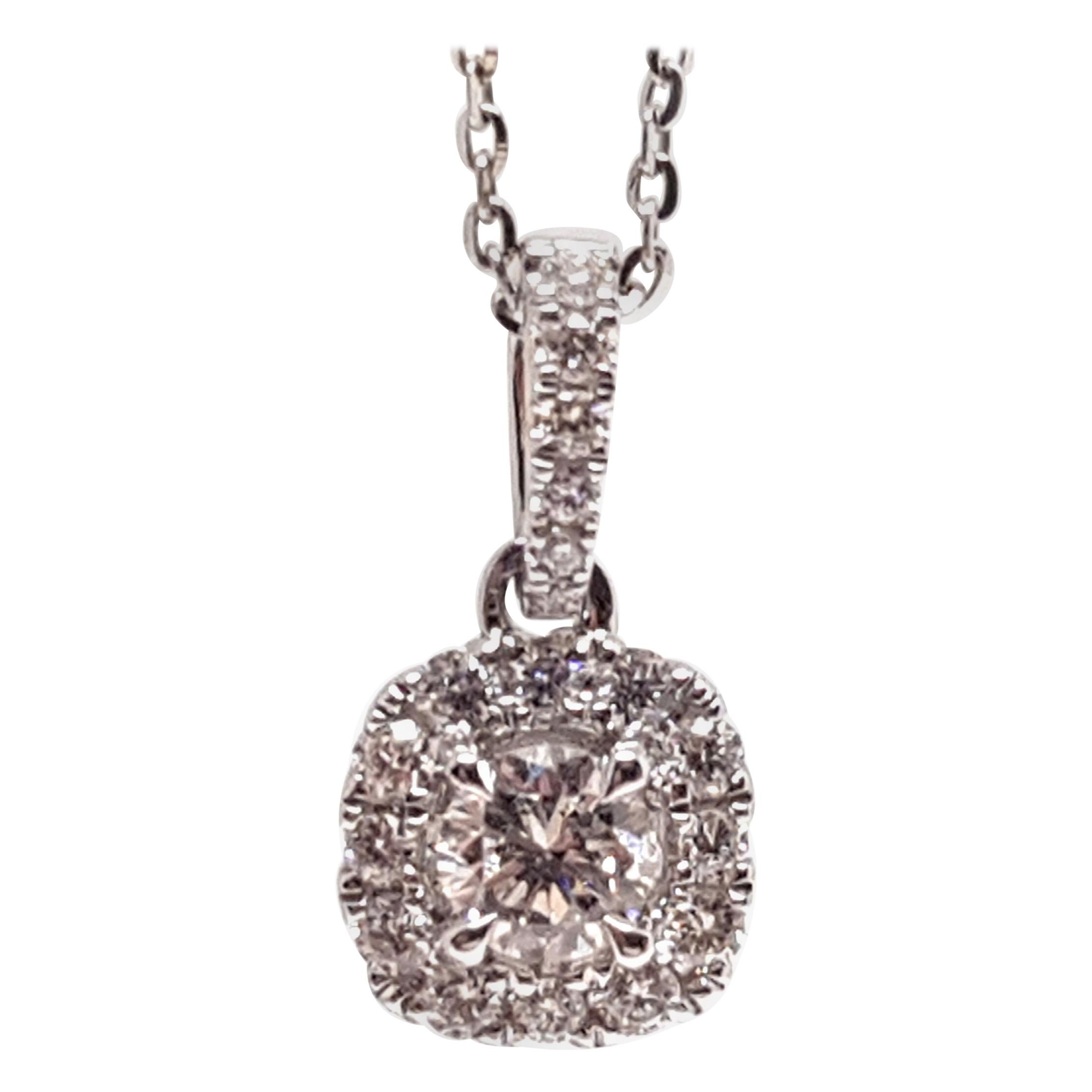 0.83 Carat White Gold Necklace Diamond Halo Solitaire Pendant