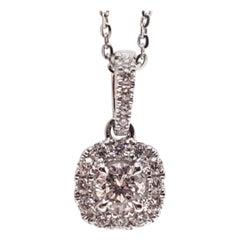 0.83 Carat White Gold Necklace Diamond Halo Solitaire Pendant