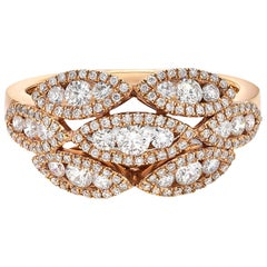 0.83 Diamond Ring, 18 Carat Rose Gold Diamond Band, Cocktail Diamond Ring