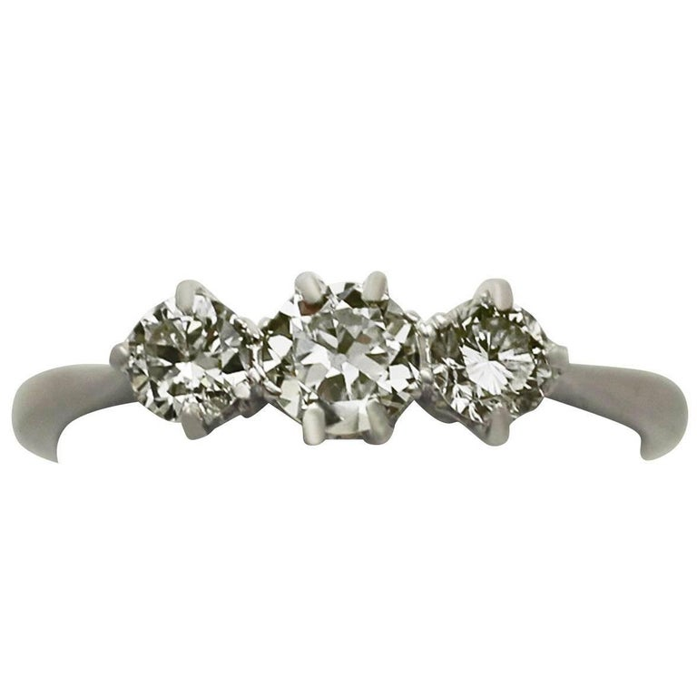 0.83 Carat Diamond and 18 Karat White Gold Three-Stone Ring, Antique circa 1920