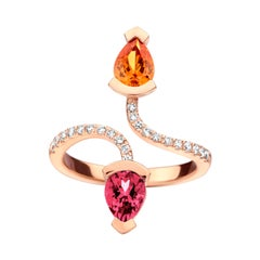 0.83Ct Mandarin Garnet and 0.81Ct Rubellite 18Kt Rose Gold Diamond Ring